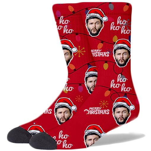 Custom Christmas Socks RED