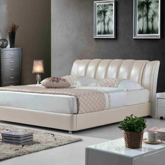 A8635-high quality upholstered leather king bed made by china luxury and modern furniture factory and company-furbyme