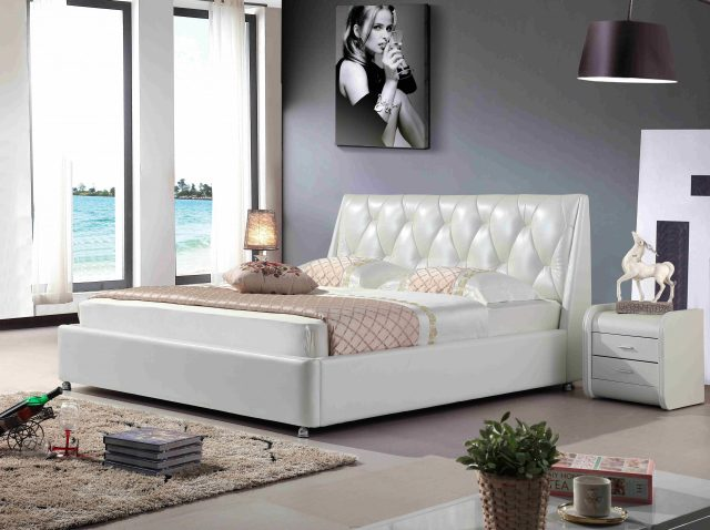 A8798-high quality upholstered leather king bed made by china luxury and modern furniture factory and company-furbyme