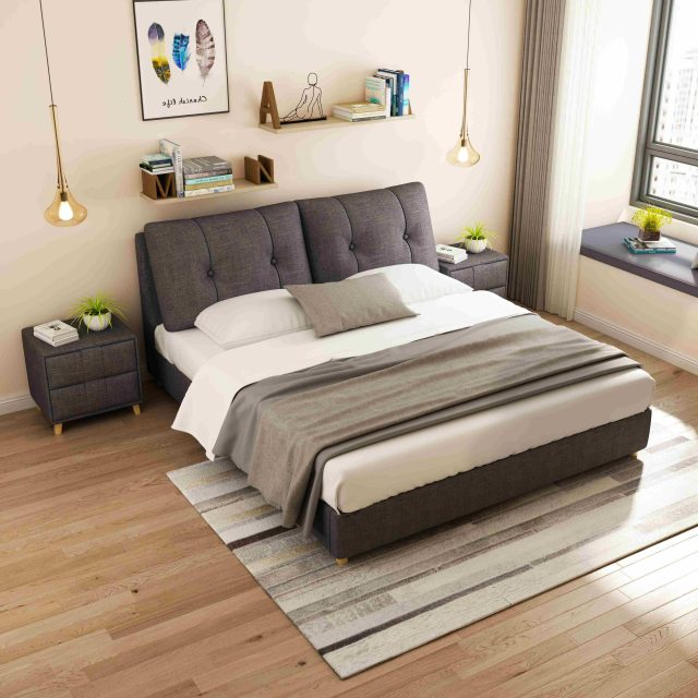 H136dark grey-high quality upholstered fabric bed made by china luxury and modern furniture factory and company-furbyme