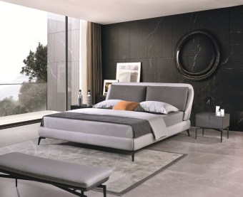 jxf6828 China Modern High End Luxury design Bedroom Furniture Double Bed Leather Bed