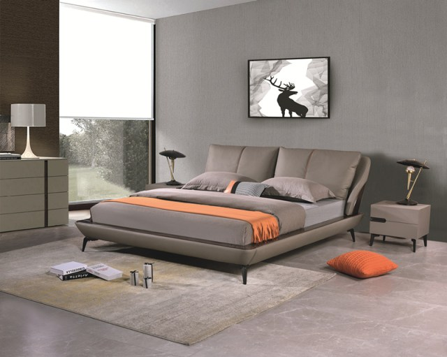 jxf6858 China Modern High End Luxury design Bedroom Furniture Double Bed Leather Bed Sleeping Bed
