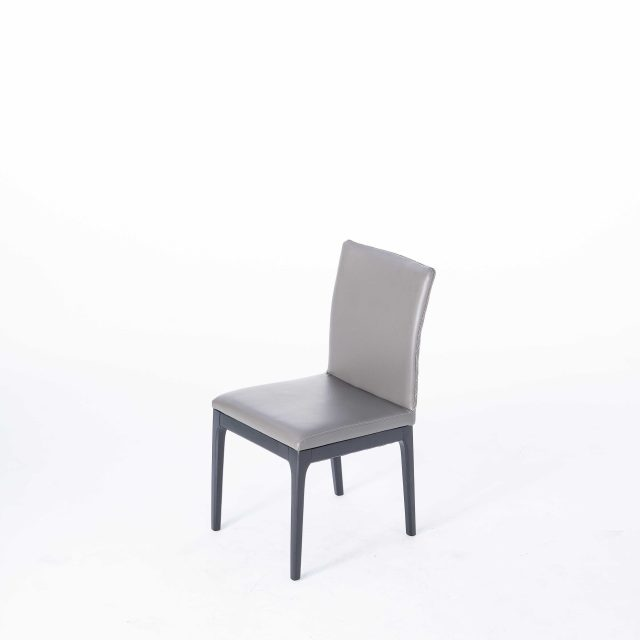 dkf14-china contemporary modern home furniture kitchen low back wood leather dining chair manufacturer