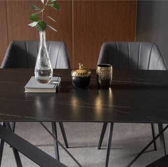 dkf705-china modern luxury home furniture metal slate mable top kitchen dining table supplier manufacturer factory company-furbyme (1)