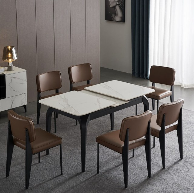 503china modern luxury home furniture metal sintered stone mable top expandable dining table supplier manufacturer factory company- (1)
