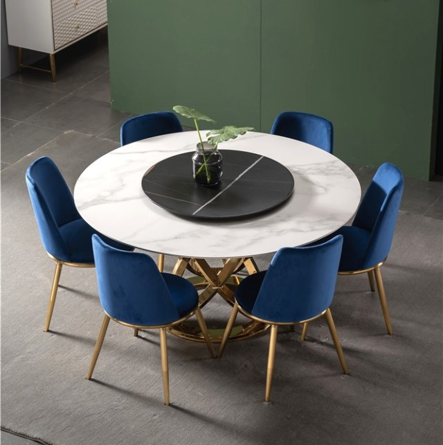 888-china modern luxury home furniture metal sintered stone mable top kitchen round dining table supplier manufacturer factory company-furbyme (1)