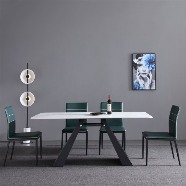 dfk724-china modern luxury home furniture metal slate mable top kitchen dining table supplier manufacturer factory company-furbyme (2)