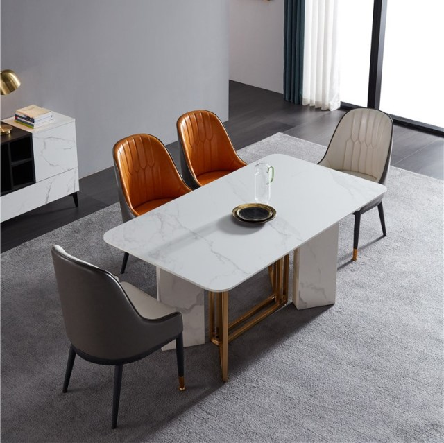 dkf706-china modern luxury home furniture metal slate mable top kitchen dining table supplier manufacturer factory company-furbyme (1)