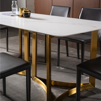 dkf707-china modern luxury home furniture metal slate mable top kitchen dining table supplier manufacturer factory company-furbyme (1)