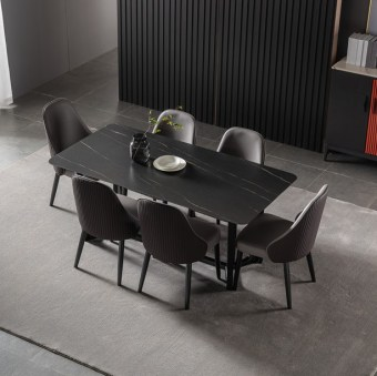 dkf708-china modern luxury home furniture metal slate mable top kitchen dining table supplier manufacturer factory company-furbyme (1)