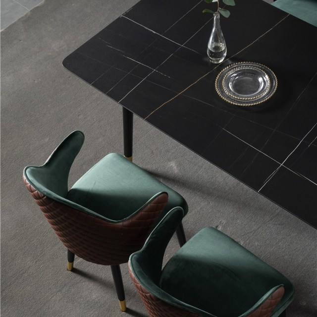 dkf716-china modern luxury home furniture metal slate mable top kitchen dining table supplier manufacturer factory company-furbyme (1)