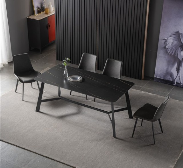 dkf738-china modern luxury home furniture metal slate mable top kitchen dining table supplier manufacturer factory company-furbyme (1)