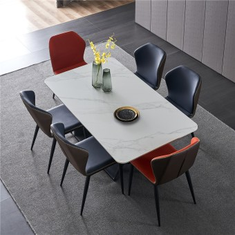 dkf754-china modern luxury home furniture metal slate mable top kitchen dining table supplier manufacturer factory company-furbyme (6)