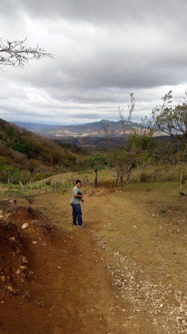 Rafael descending the path down to Alberto's farm