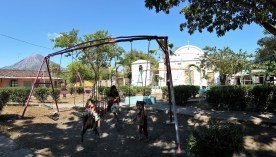 I love this bizarre panorama of a tiny town square backed by Concepcion