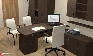Funkcjonalne biurko kierownicze z pomocnikiem w kolorze wenge