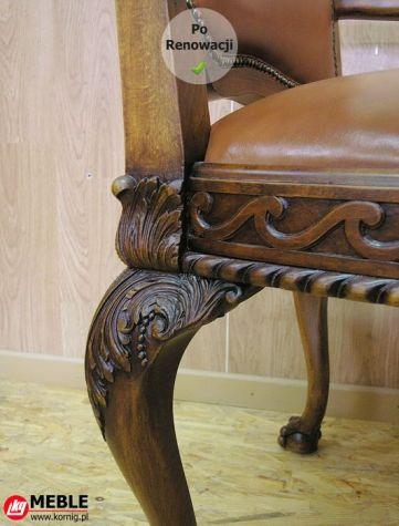 Fotel po renowacji z nowym rzeźbionym detalem
