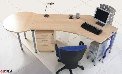 Biurko 1-osobowe SET z okrągłą dostawką