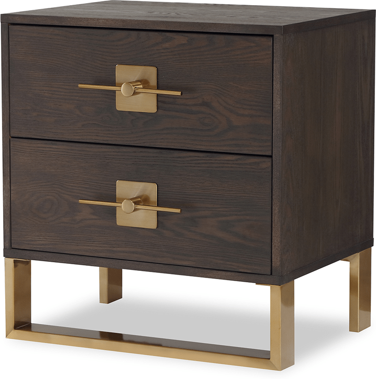 ophir bedside table 2 drawers dark brown oak and brass