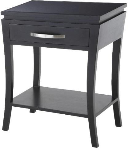 modena black wood modern side table black glass top