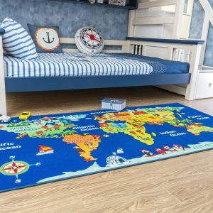 World Continent Map for Kids Area Rug