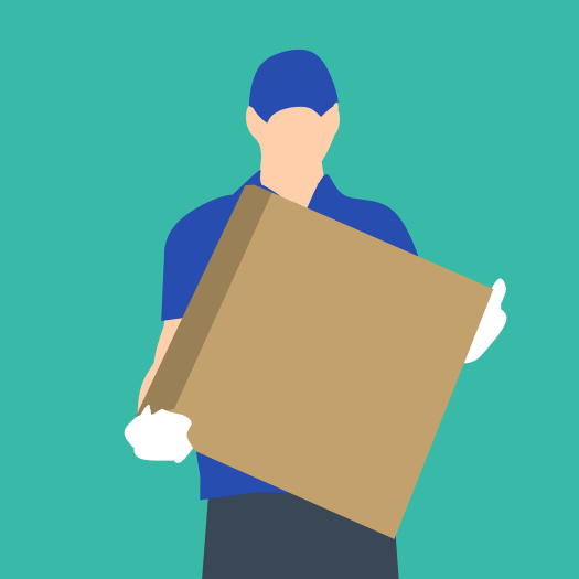 a clip art image of someone carrying a box and wearing gloves doing a delivery while moving during covid