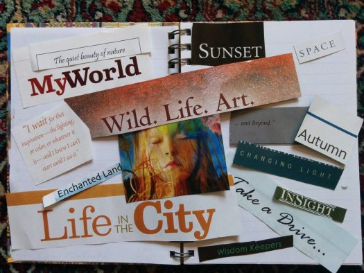 "a homemade collage vision board made up of magazine cut outs. Some phrases include ""life in the city"" and ""my world."""