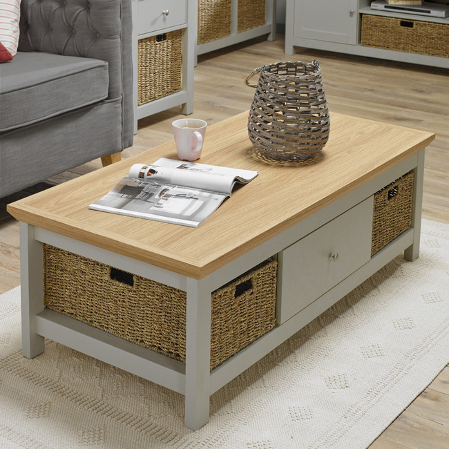 cotswold grey oak coffee table free delivery