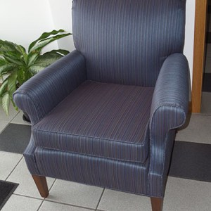 Custom built blue arm chair
