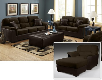Brown leather and suede sofa and loveseat