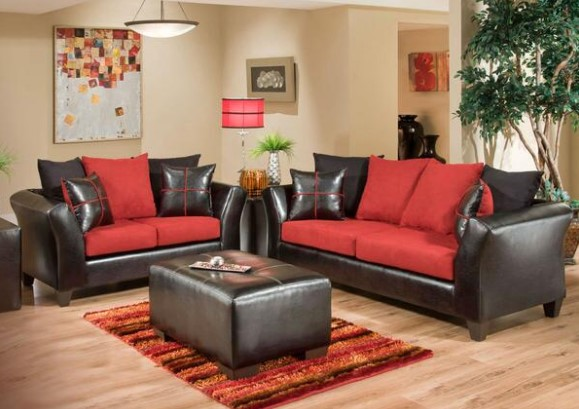 Lanzo 2 Pc. Red Living Room From The RoomPlace