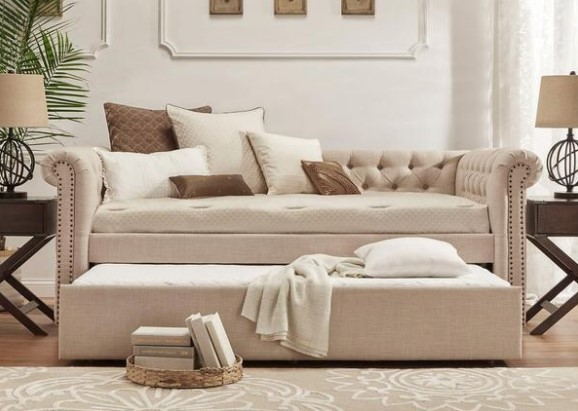 Barrington Beige Linen Daybed w/Trundle from The RoomPlace