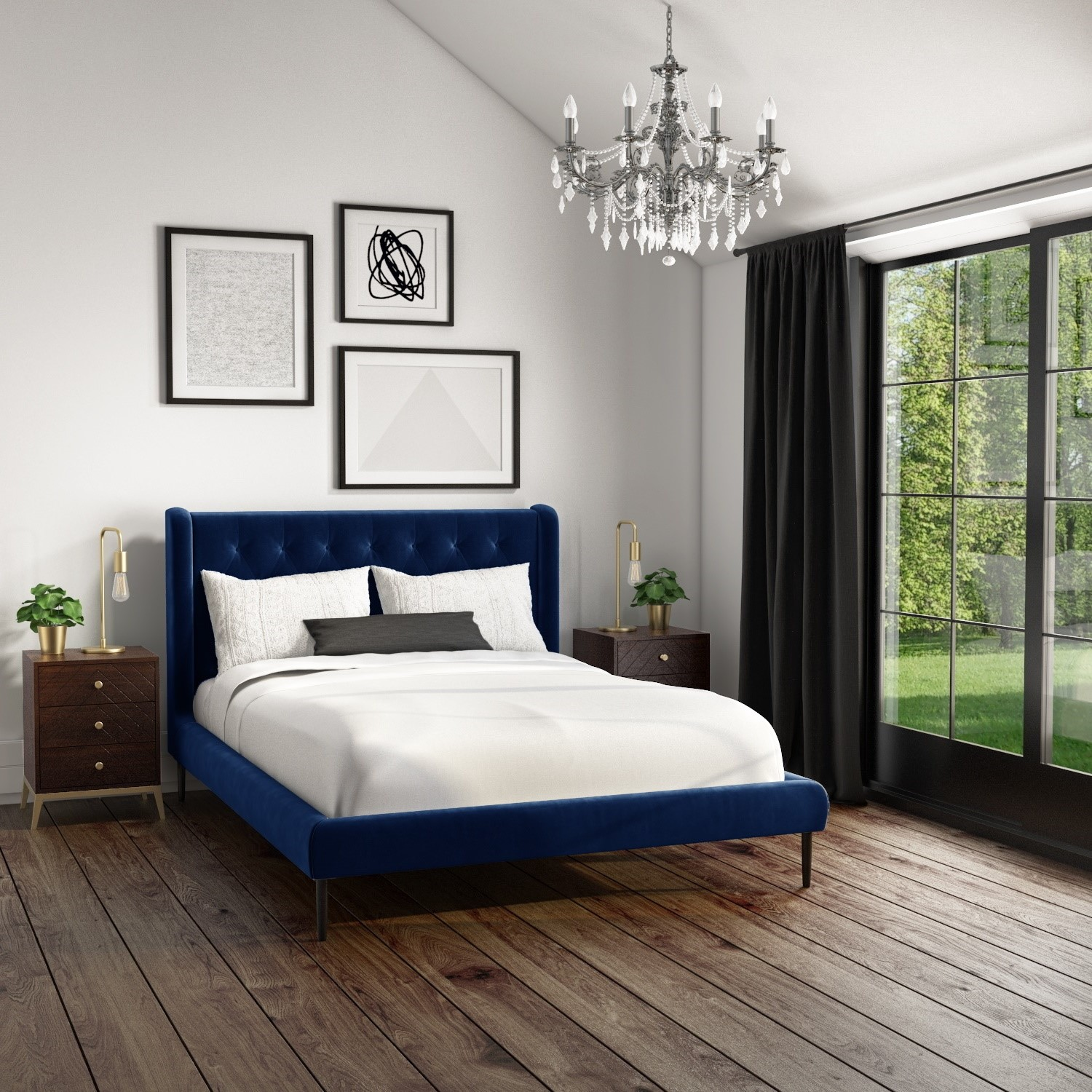 amara king size bed frame in navy blue velvet with quilted headboard