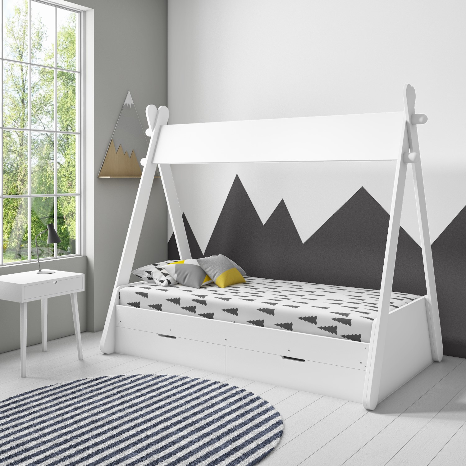 arlo white teepee bed frame with pull out storage drawers
