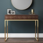 Aubrey Walnut 2 Drawer Console Table With Gold Legs Furniture123