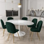 White Marble Oval Pedestal Dining Table With 6 Dining Chairs In Dark Green Furniture123