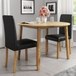 New Haven Oak Set With Round Drop Leaf Dining Table 2 Black Faux Leather Chairs Furniture123