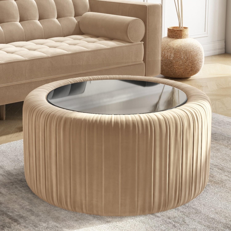 round beige velvet ottoman storage coffee table clio