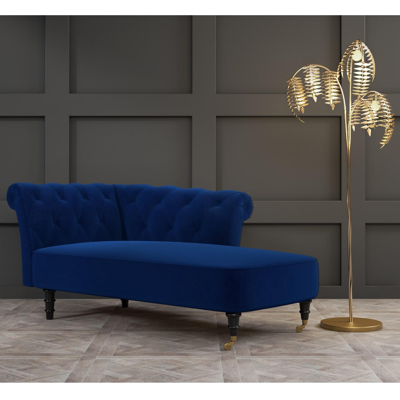 christiana navy blue velvet chaise longue chair right hand facing