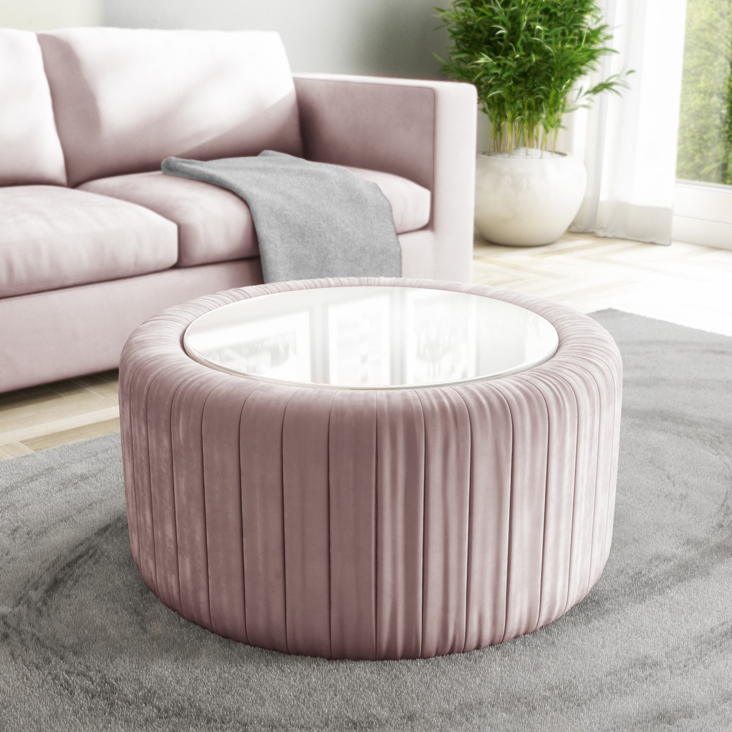 pink velvet ottoman storage pouffe with white glass top coffee table clio