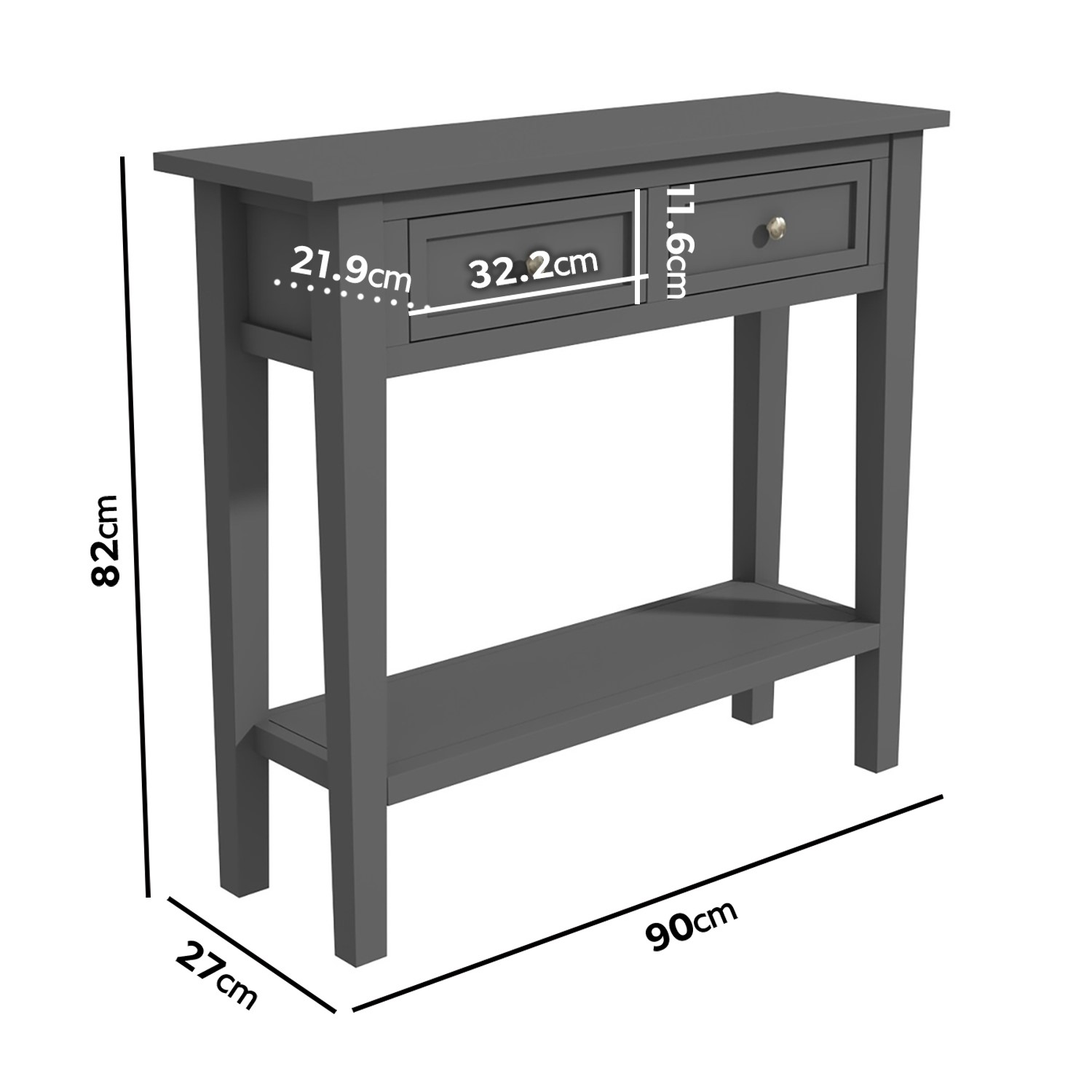 Narrow Grey Console Table With Drawers Elms Furniture123