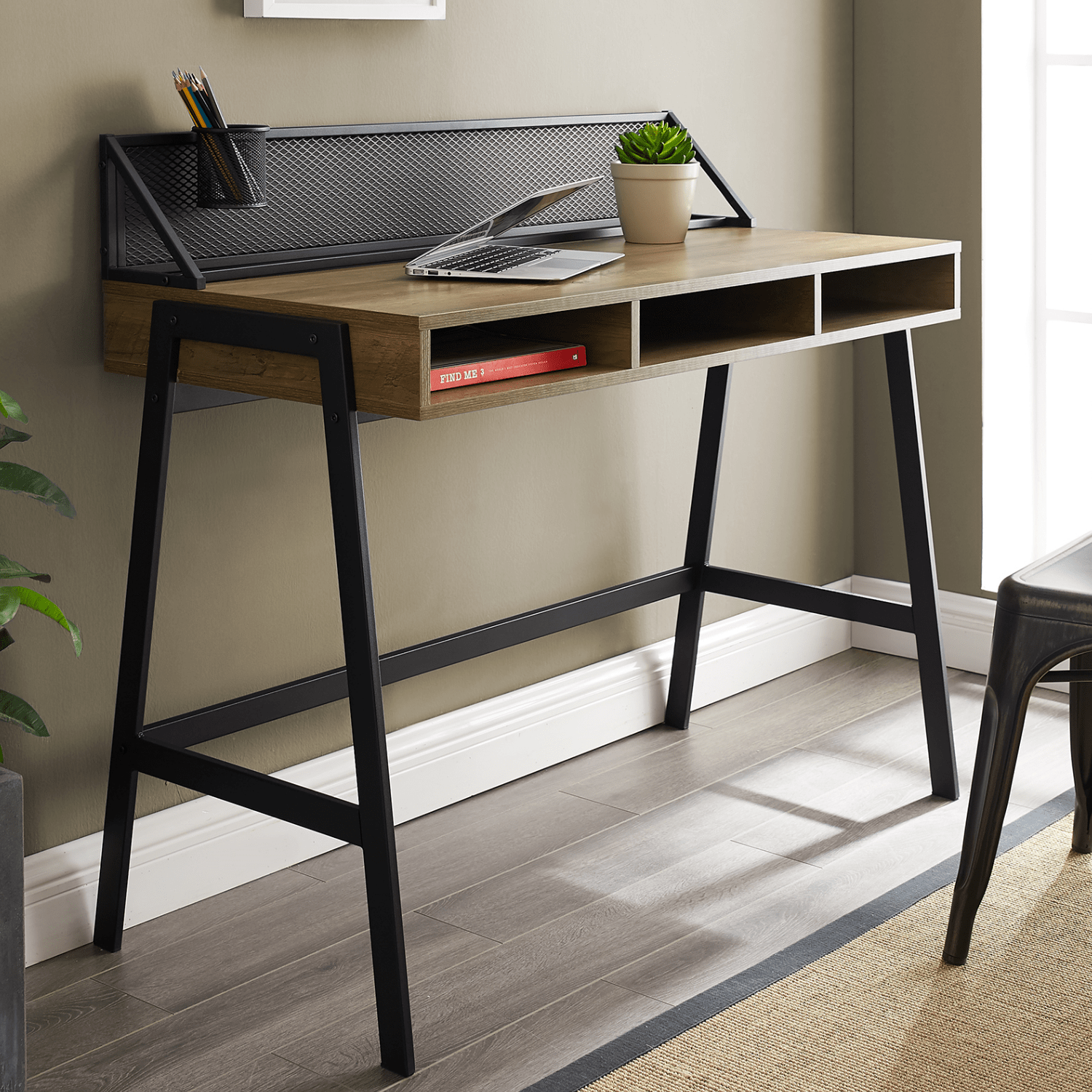 Foster Brown Wooden Office Desk With Black Mesh Back Furniture123