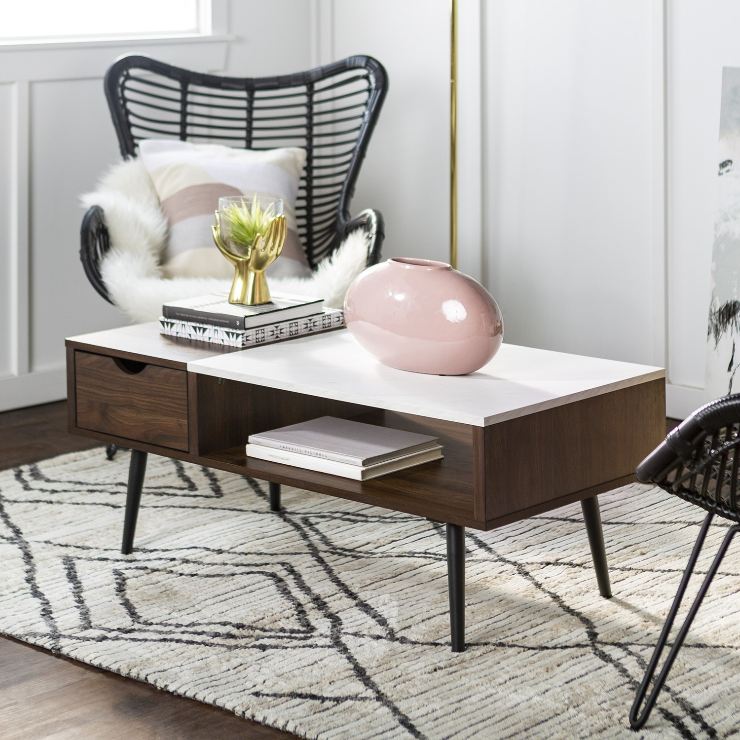 white marble coffee table with wooden effect shelf foster