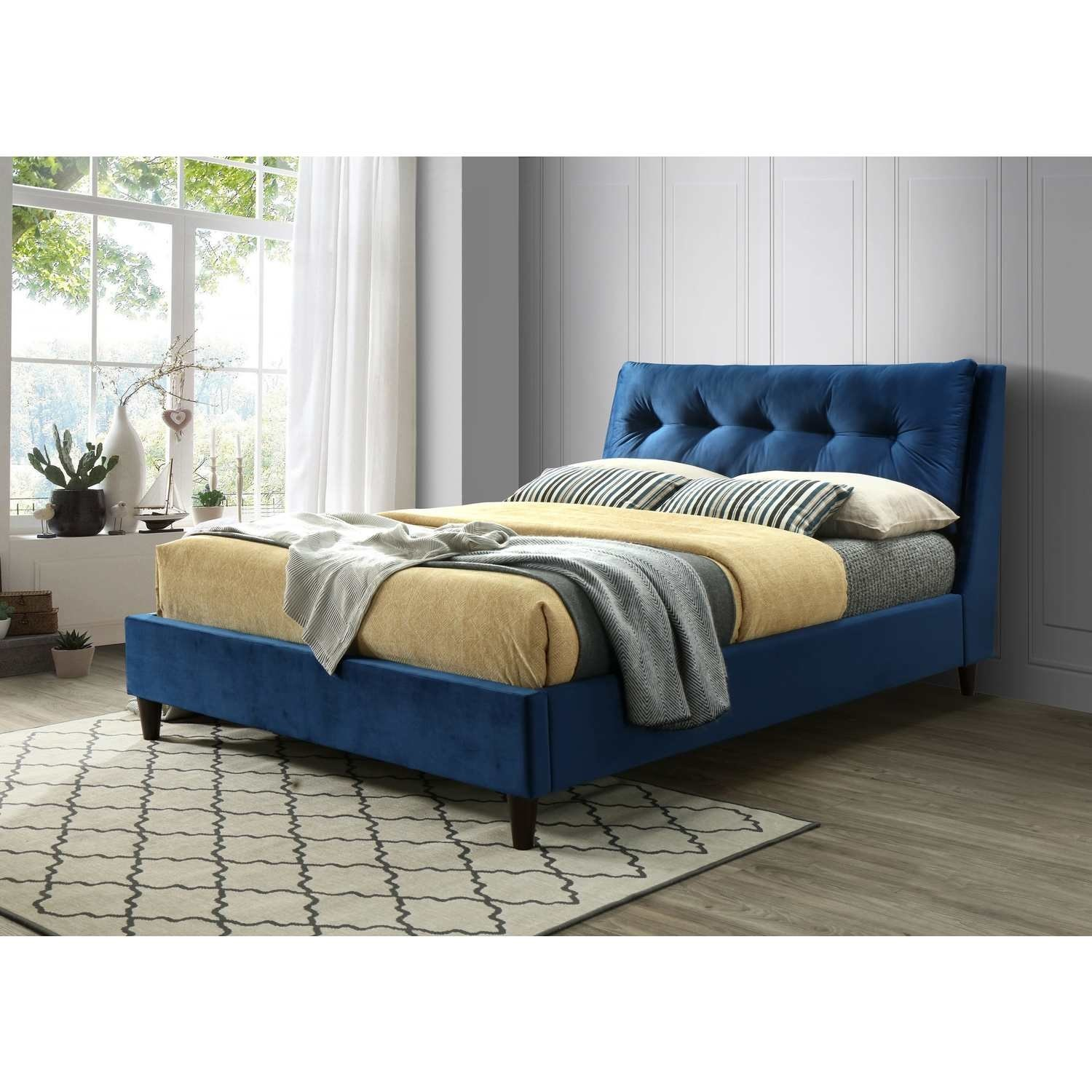 amaya buttoned pillow headboard double bed in blue