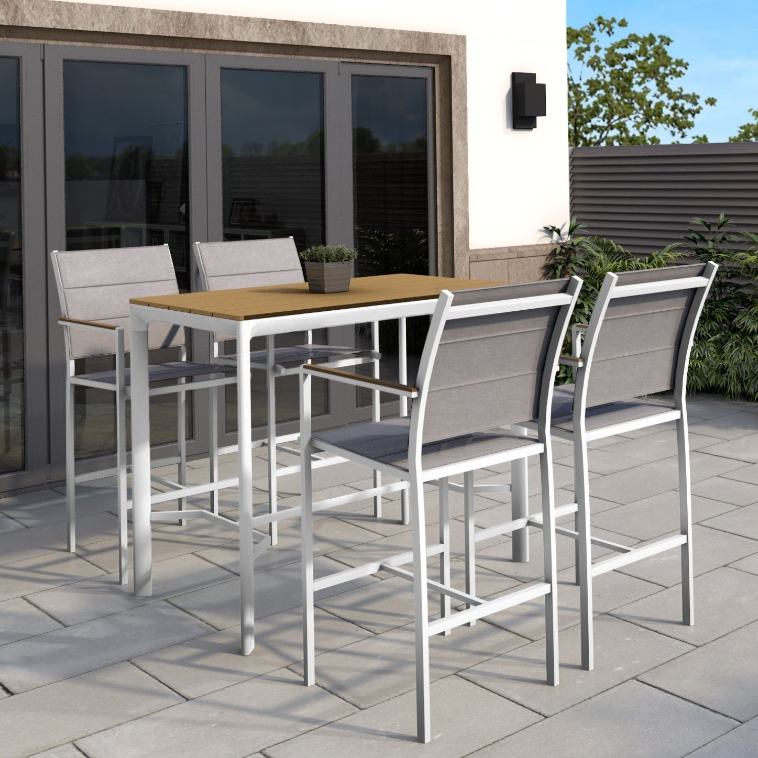 White Outdoor Bar Set With 4 Bar Stools Furniture123