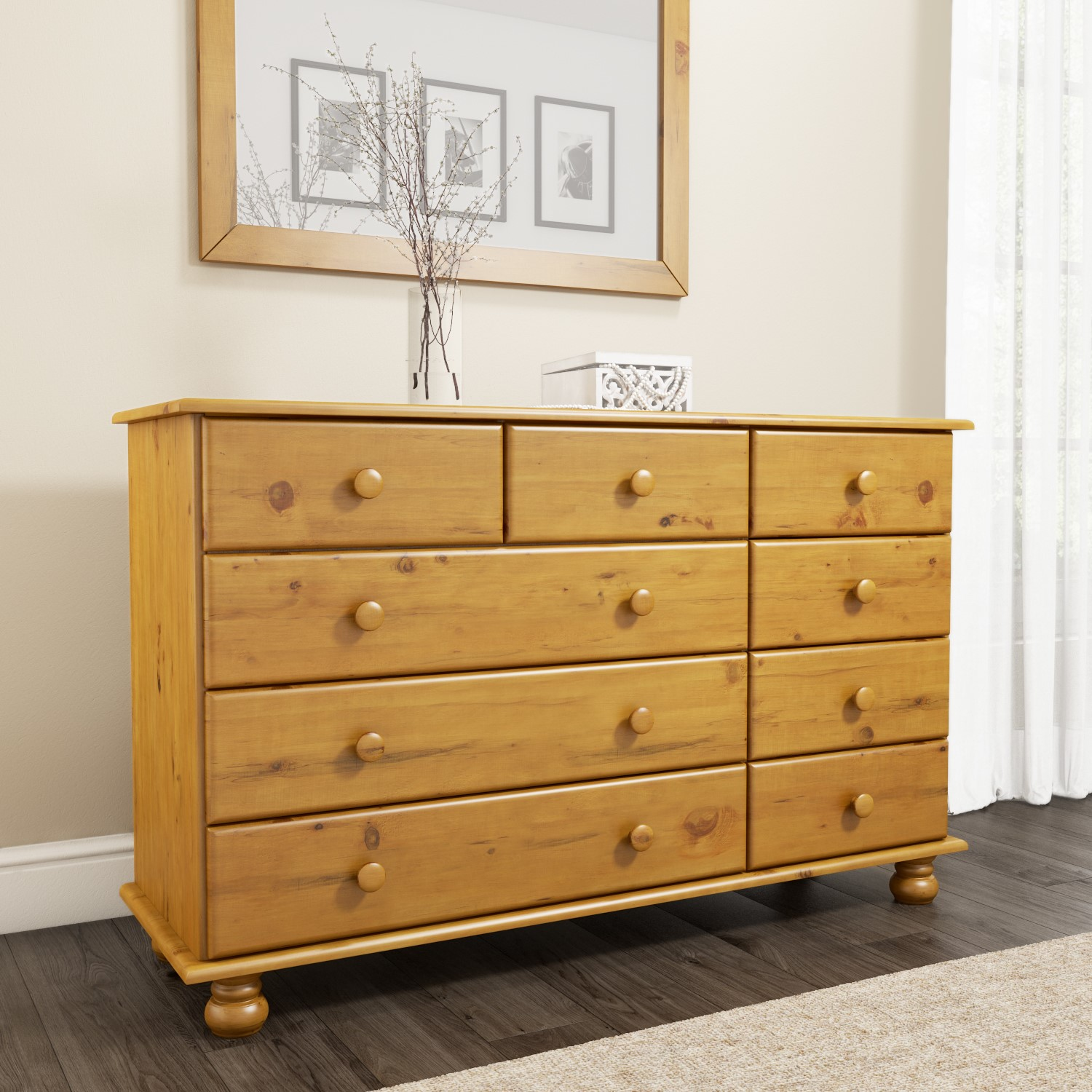 hamilton 2 3 4 wide chest of drawers in pine