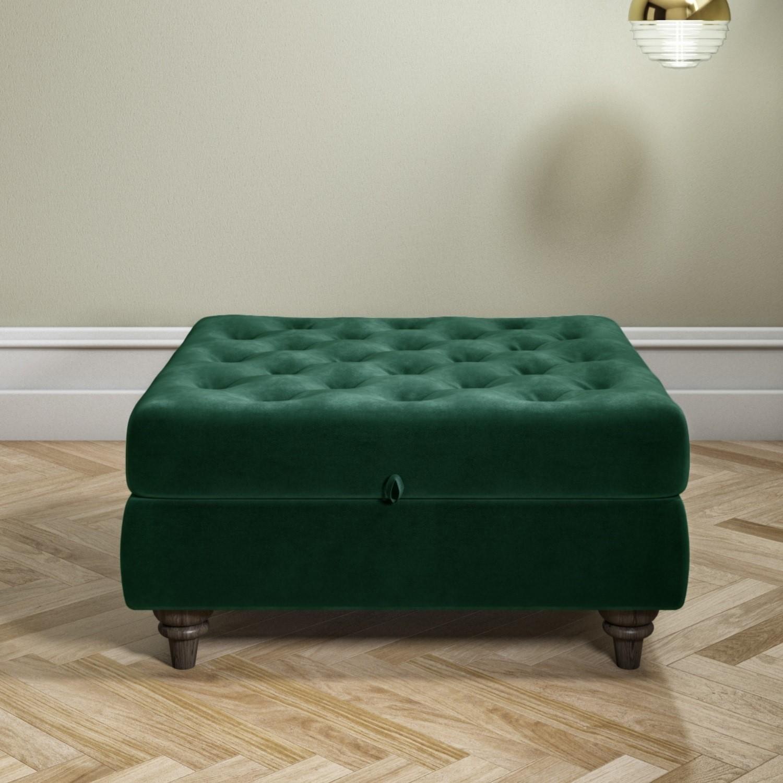 dark green ottoman storage footstool buttoned inez