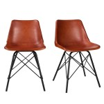 Set Of 2 Retro Dining Chairs In Tan Leather Jaxon Furniture123