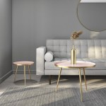 Gold Pink Small Round Side Table Kaisa Furniture123
