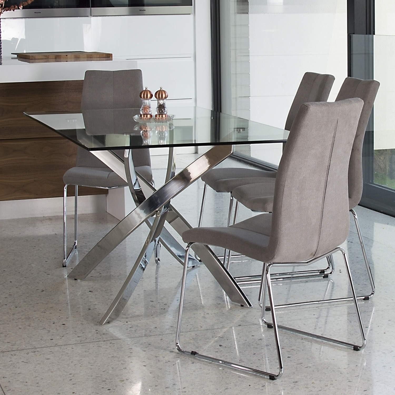 glass dining table with chrome base seats 6 vida living kalmar